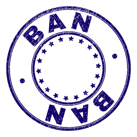 BAN stamp seal watermark with grunge texture. Designed with round shapes and stars. Blue vector rubber print of BAN caption with unclean texture.