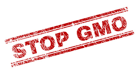 STOP GMO seal print with grunge texture. Red vector rubber print of STOP GMO text with scratched texture. Text title is placed between double parallel lines.