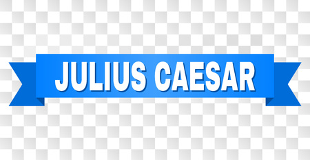 JULIUS CAESAR text on a ribbon. Designed with white caption and blue stripe. Vector banner with JULIUS CAESAR tag on a transparent background.