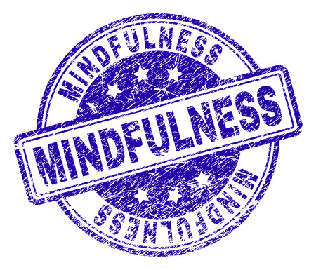 MINDFULNESS stamp seal imprint with grunge texture. Designed with rounded rectangles and circles. Blue vector rubber print of MINDFULNESS tag with dirty texture.