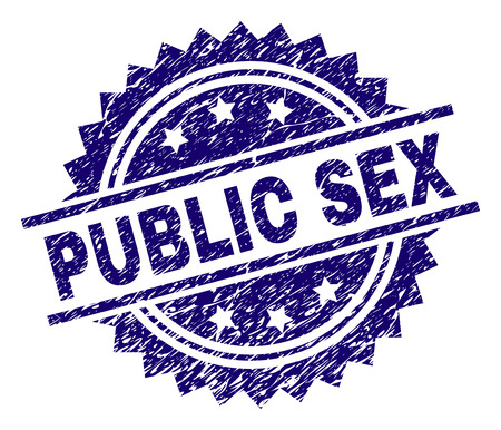 PUBLIC SEX stamp seal watermark with distress style. Blue vector rubber print of PUBLIC SEX text with grunge texture.