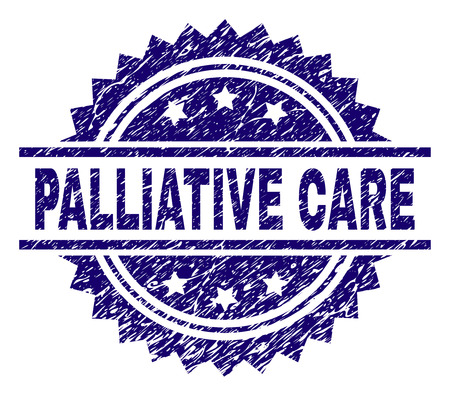 PALLIATIVE CARE stamp seal watermark with distress style. Blue vector rubber print of PALLIATIVE CARE caption with dirty texture.