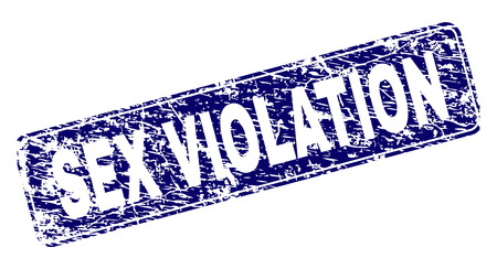 SEX VIOLATION stamp seal print with distress style. Seal shape is a rounded rectangle with frame. Blue vector rubber print of SEX VIOLATION text with dust style.