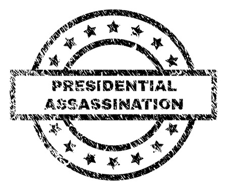 PRESIDENTIAL ASSASSINATION stamp seal watermark with distress style. Designed with rectangle, circles and stars. Black vector rubber print of PRESIDENTIAL ASSASSINATION tag with retro texture.