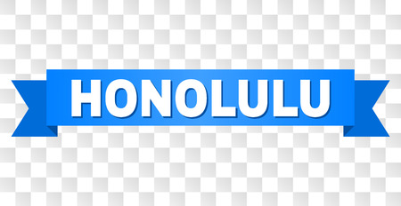 HONOLULU text on a ribbon. Designed with white title and blue stripe. Vector banner with HONOLULU tag on a transparent background.