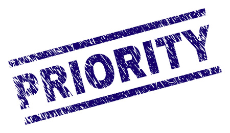PRIORITY seal print with grunge style. Blue vector rubber print of PRIORITY label with grunge texture. Text caption is placed between parallel lines.