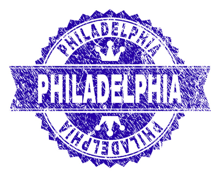 PHILADELPHIA rosette seal watermark with grunge style. Designed with round rosette, ribbon and small crowns. Blue vector rubber watermark of PHILADELPHIA label with grunge texture.