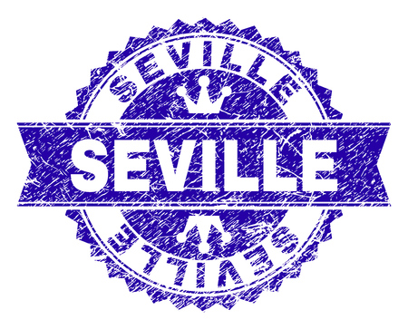 SEVILLE rosette stamp seal imitation with grunge texture. Designed with round rosette, ribbon and small crowns. Blue vector rubber print of SEVILLE label with grunge texture.