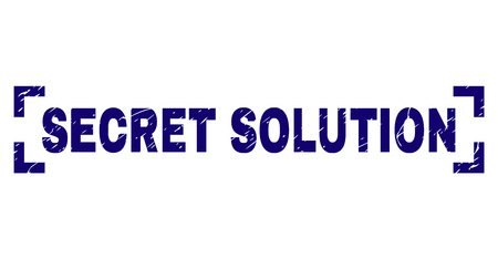 SECRET SOLUTION label seal print with distress texture. Text label is placed between corners. Blue vector rubber print of SECRET SOLUTION with grunge texture.