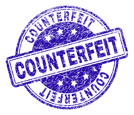 COUNTERFEIT stamp seal imprint with grunge texture. Designed with rounded rectangles and circles. Blue vector rubber print of COUNTERFEIT text with scratched texture. Иллюстрация