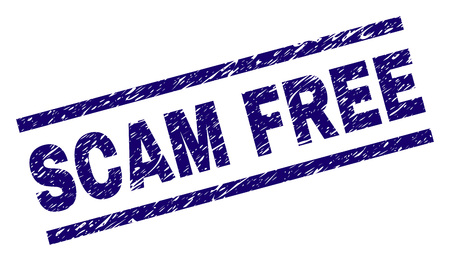 SCAM FREE seal print with grunge style. Blue vector rubber print of SCAM FREE title with grunge texture. Text label is placed between parallel lines.