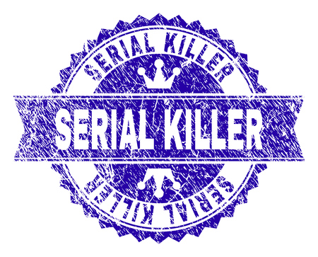SERIAL KILLER rosette stamp imprint with grunge style. Designed with round rosette, ribbon and small crowns. Blue vector rubber watermark of SERIAL KILLER title with unclean style.