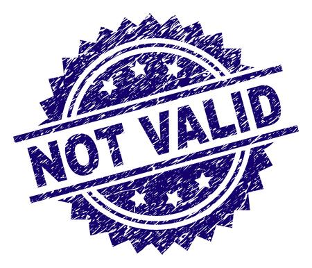 Filigrane de sceau de timbre NON VALIDE avec style de détresse. Impression en caoutchouc de vecteur bleu de l'étiquette NON VALABLE avec texture de la poussière.