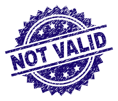 NOT VALID stamp seal watermark with distress style. Blue vector rubber print of NOT VALID tag with dust texture. Illustration