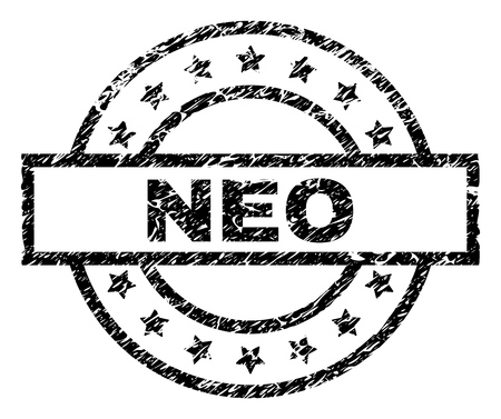 NEO stamp seal watermark with distress style. Designed with rectangle, circles and stars. Black vector rubber print of NEO caption with unclean texture. Ilustração