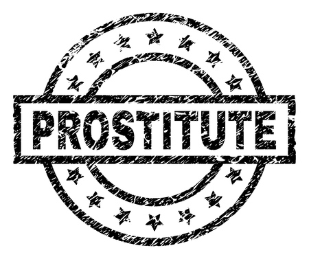 PROSTITUTE stamp seal watermark with distress style. Designed with rectangle, circles and stars. Black vector rubber print of PROSTITUTE title with dust texture.