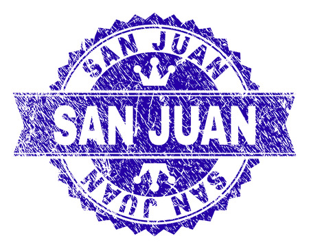 SAN JUAN rosette stamp seal watermark with grunge style. Designed with round rosette, ribbon and small crowns. Blue vector rubber watermark of SAN JUAN label with unclean style.