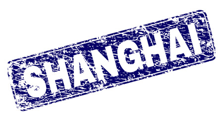 SHANGHAI stamp seal print with distress style. Seal shape is a rounded rectangle with frame. Blue vector rubber print of SHANGHAI text with unclean style.