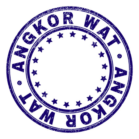 ANGKOR WAT stamp seal watermark with grunge texture. Designed with round shapes and stars. Blue vector rubber print of ANGKOR WAT tag with unclean texture.