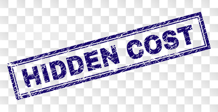 HIDDEN COST stamp seal watermark with rubber print style and double framed rectangle shape. Stamp is placed on a transparent background.