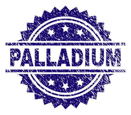 PALLADIUM stamp seal watermark with distress style. Blue vector rubber print of PALLADIUM tag with scratched texture. Illustration
