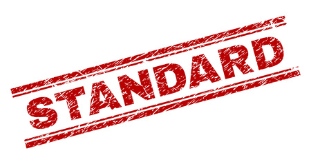 STANDARD seal stamp with grunge texture. Red vector rubber print of STANDARD label with grunge texture. Text label is placed between double parallel lines.