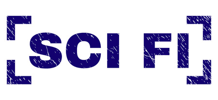 SCI FI caption seal print with corroded texture. Text title is placed between corners. Blue vector rubber print of SCI FI with dust texture.