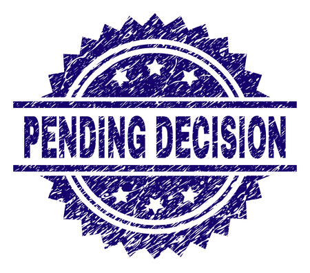 PENDING DECISION stamp seal watermark with distress style. Blue vector rubber print of PENDING DECISION title with corroded texture.