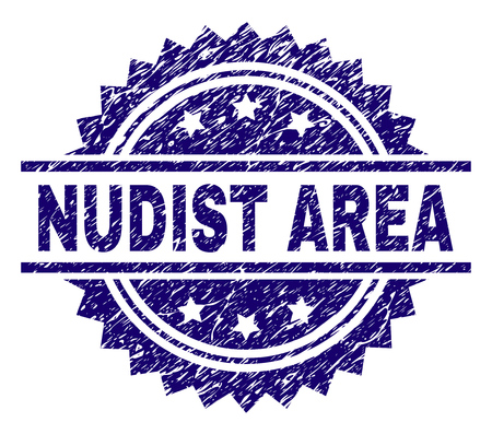 NUDIST AREA stamp seal watermark with distress style. Blue vector rubber print of NUDIST AREA tag with grunge texture.