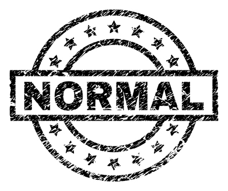 NORMAL stamp seal watermark with distress style. Designed with rectangle, circles and stars. Black vector rubber print of NORMAL tag with grunge texture.