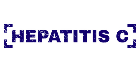 HEPATITIS C text seal print with grunge texture. Text tag is placed between corners. Blue vector rubber print of HEPATITIS C with scratched texture.