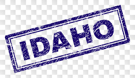 IDAHO stamp seal imprint with rubber print style and double framed rectangle shape. Stamp is placed on a transparent background. Blue vector rubber print of IDAHO caption with scratched texture.  イラスト・ベクター素材