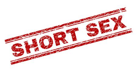 SHORT SEX Siegeldruck mit Distress-Textur. Roter Vektorgummidruck von SHORT SEX-Text mit Grunge-Textur. Das Textlabel wird zwischen doppelten parallelen Linien platziert. Vektorgrafik