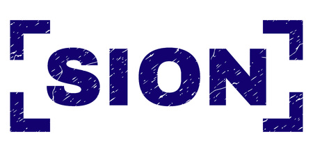 SION text seal print with grunge texture. Text caption is placed between corners. Blue vector rubber print of SION with retro texture.