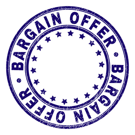 BARGAIN OFFER stamp seal imprint with grunge texture. Designed with circles and stars. Blue vector rubber print of BARGAIN OFFER title with unclean texture.