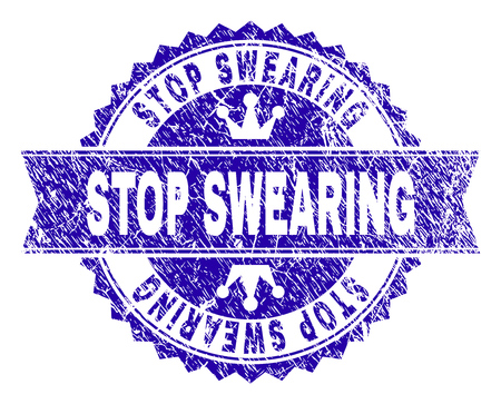 STOP SWEARING rosette seal watermark with grunge texture. Designed with round rosette, ribbon and small crowns. Blue vector rubber print of STOP SWEARING label with grunge texture. Illustration