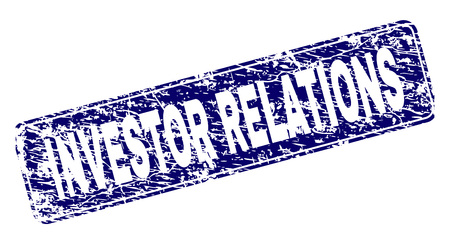 INVESTOR RELATIONS stamp seal print with grunge style. Seal shape is a rounded rectangle with frame. Blue vector rubber print of INVESTOR RELATIONS caption with scratched texture.  イラスト・ベクター素材