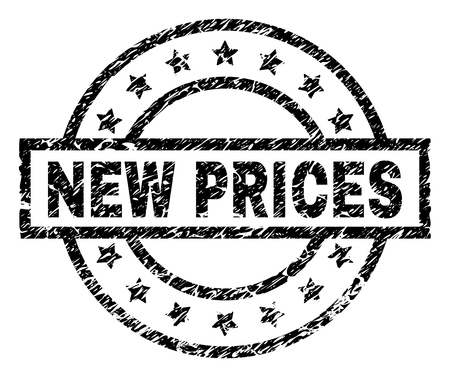 NEW PRICES stamp seal watermark with distress style. Designed with rectangle, circles and stars. Black vector rubber print of NEW PRICES title with unclean texture.