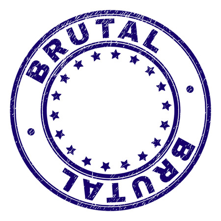 BRUTAL stamp seal watermark with distress texture. Designed with round shapes and stars. Blue vector rubber print of BRUTAL title with unclean texture. Illustration