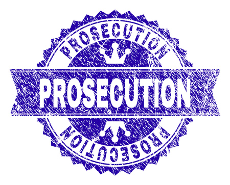 PROSECUTION rosette stamp imitation with distress style. Designed with round rosette, ribbon and small crowns. Blue vector rubber print of PROSECUTION title with retro style. Illustration