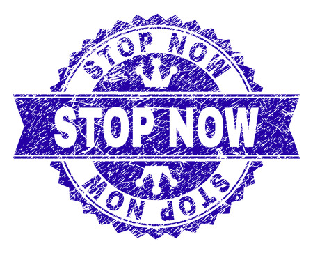 STOP NOW rosette stamp seal watermark with distress texture. Designed with round rosette, ribbon and small crowns. Blue vector rubber watermark of STOP NOW label with dirty texture.