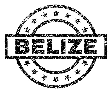 BELIZE stamp seal watermark with distress style. Designed with rectangle, circles and stars. Black vector rubber print of BELIZE caption with unclean texture.