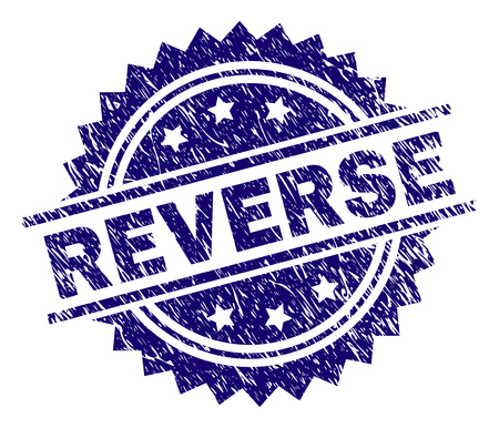 REVERSE stamp seal watermark with distress style. Blue vector rubber print of REVERSE caption with retro texture. Illustration