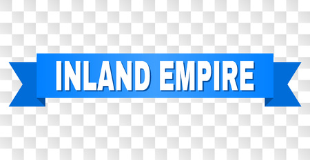 INLAND EMPIRE text on a ribbon. Designed with white caption and blue tape. Vector banner with INLAND EMPIRE tag on a transparent background.