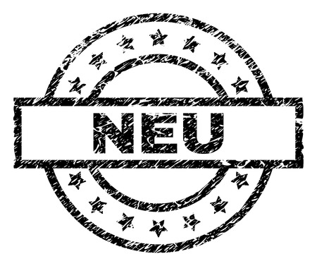 NEU stamp seal watermark with distress style. Designed with rectangle, circles and stars. Black vector rubber print of NEU tag with grunge texture.
