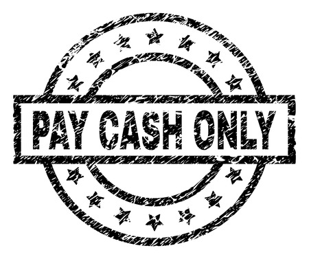 PAY CASH ONLY stamp seal watermark with distress style. Designed with rectangle, circles and stars. Black vector rubber print of PAY CASH ONLY caption with dirty texture. Illusztráció