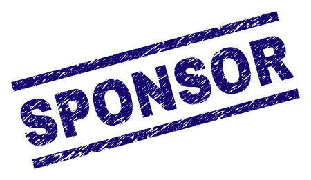 SPONSOR seal print with grunge style. Blue vector rubber print of SPONSOR text with dust texture. Text caption is placed between parallel lines. Vettoriali