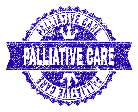 PALLIATIVE CARE rosette stamp seal imprint with distress texture. Designed with round rosette, ribbon and small crowns. Blue vector rubber print of PALLIATIVE CARE text with unclean texture. Illustration