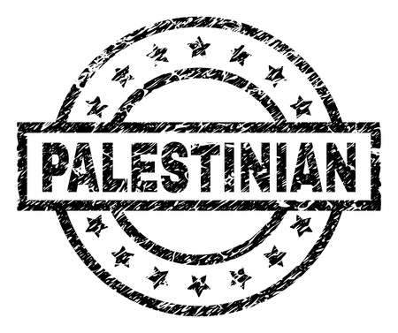PALESTINIAN stamp seal watermark with distress style. Designed with rectangle, circles and stars. Black vector rubber print of PALESTINIAN text with retro texture. Imagens - 116365858
