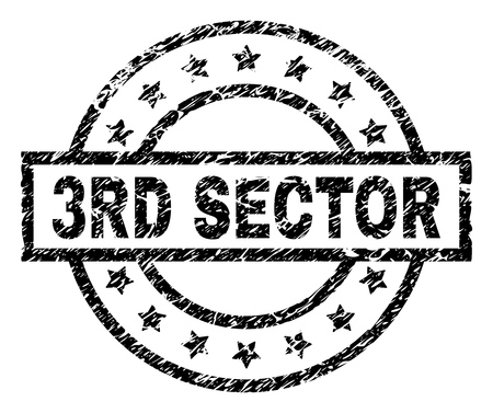3RD SECTOR stamp seal watermark with distress style. Designed with rectangle, circles and stars. Black vector rubber print of 3RD SECTOR caption with scratched texture.